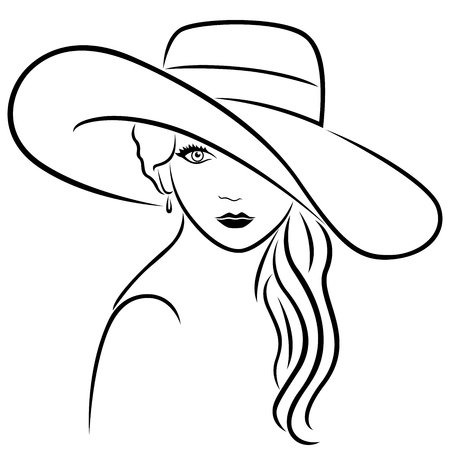 Beautiful young woman with long wavy locks posing half-turn in wide-brimmed hat, hand drown vector outline Illustration
