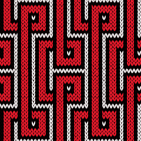 Knitting seamless vector pattern with ornamental strips in red, white and black colors as a fabric texture Illustration