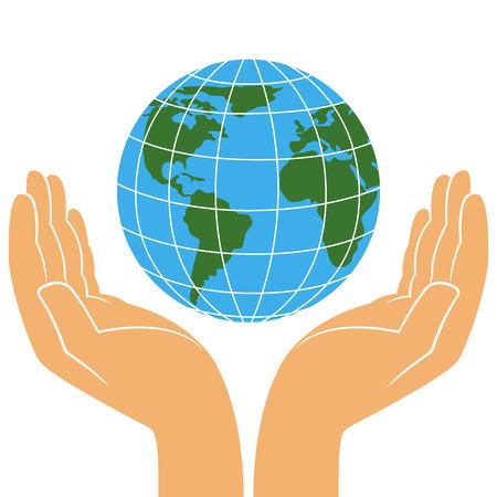 Planeta en manos humanas, concepto del día de la tierra, ilustración estilizada del vector en el fondo blanco