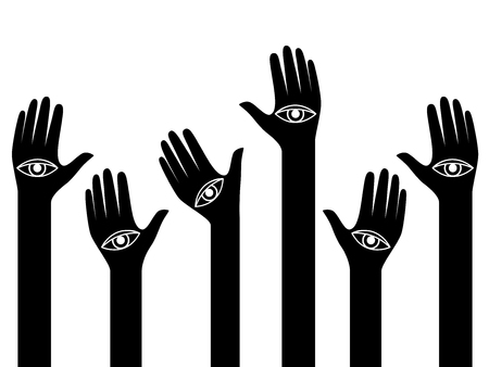 Human hands with eyes on the palms raised up, conceptual back and white vector illustration