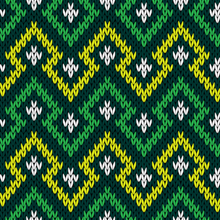 Knitting seamless geometric vector pattern in yellow, white and green hues as a fabric texture Illustration