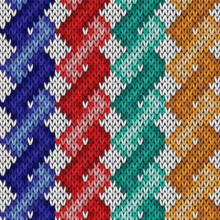 Four twisted ropes of different colours, vector knitting seamless pattern as a fabric texture Illustration