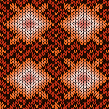 Ethnic ornamental knitting seamless vector pattern in orange, brown and beige colours as a fabric texture
