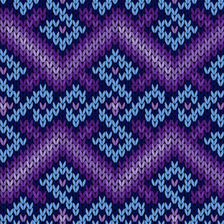 Ornate knitting seamless vector pattern in blue and violet hues as a fabric texture
