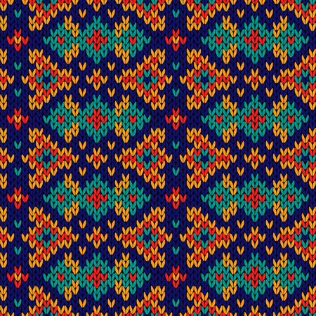 woollen: Ornate knitting motley seamless vector pattern in various colours as a fabric texture