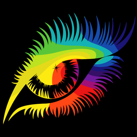 Human eye in spectrum colors close-up isolated on the black background, vector illustration