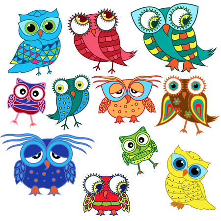 Set of eleven colourful cartoon amusing owls with big eyes and with glasses isolated on the white background, vector illustration