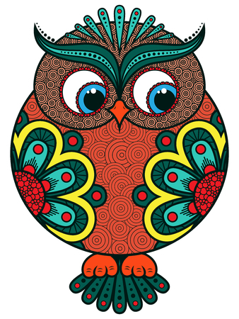 Big stylized colourful ornate funny rounded owl, vector artwork isolated on white background