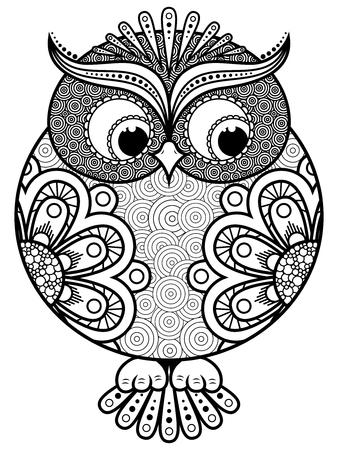 Big stylized ornate rounded owl, black vector contour isolated on white background