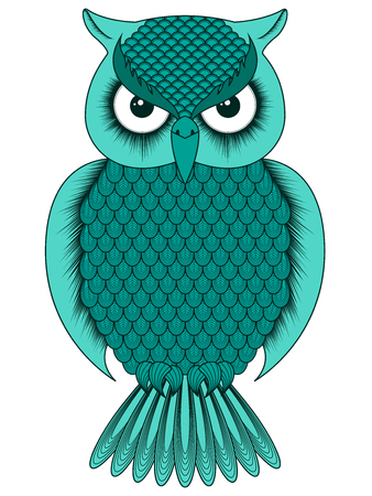 Big serious turquoise ornate cartoon owl with round eyes isolated on the white background, vector illustration