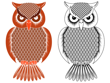 Black outline and orange owl stencil with round eyes isolated on the white background, vector illustration