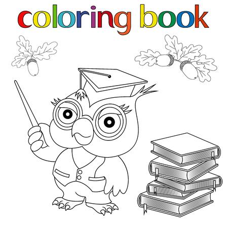Búho Con Sombrero De Graduación Y Libros. Página De Libro Para ...