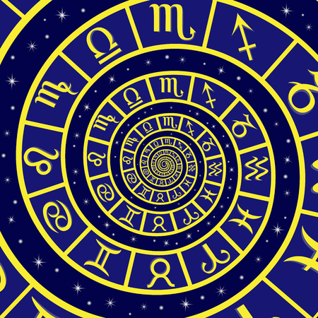 12: Twelve Zodiac sign on the time spiral, vector illustration in blue and yellow colors