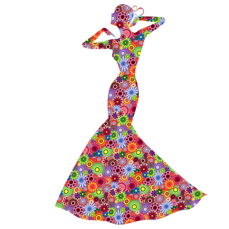 Abstract Graceful single Lady in long gown, vector stencil fill with stylized colorful motley flowers, isolated on the white background