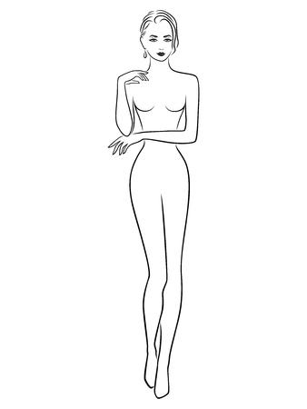 Abstract slender girl hand drawing vector outline Ilustração