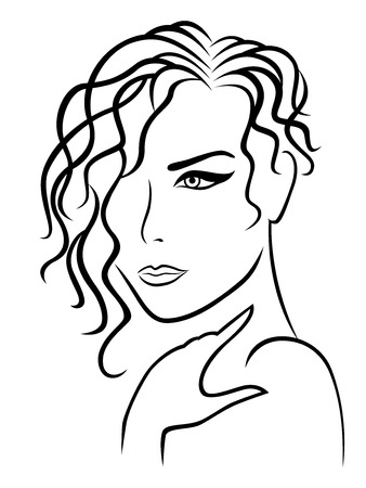 Abstract beautiful lady with wavy and curly hairstyle, hand drawing vector outline
