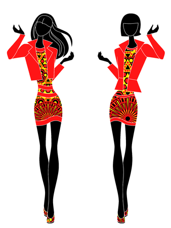Slim stylized models in short ornate dresses, vector stencils in black, red and yellow colors isolated on the white background