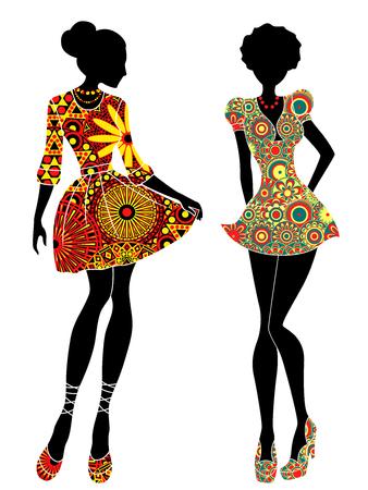 Adelgace los modelos jóvenes estilizados en vestidos de colores cortos adornados, vector plantillas aisladas sobre fondo blanco