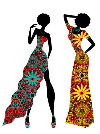 Slender stylized young models in ornate colourful motley ethnic long dresses, vector stencils isolated on the white background
