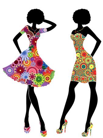 Modèles stylisés minces dans des robes colorées courtes et ornées, pochoirs de vecteur isolés sur fond blanc