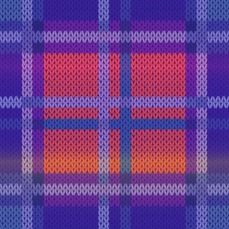 파란색, 보라색 및 분홍색 색조를 중심으로 패브릭 질감으로 원활 하 게 뜨개질 벡터 패턴