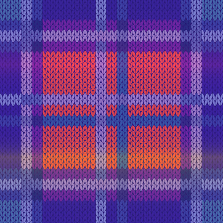 Seamless knitting vector pattern as a fabric texture mainly in blue, violet and pink hues