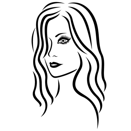 long nose: Abstract young beautiful women head with long wavy hair, hand drawing vector outline