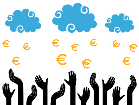Euro Money falling from the clouds in the human hands, stylised conceptual vector illustration