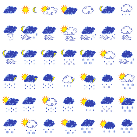 cloudless: Set of forty three forecast weather color simple vector icons isolated on the white background