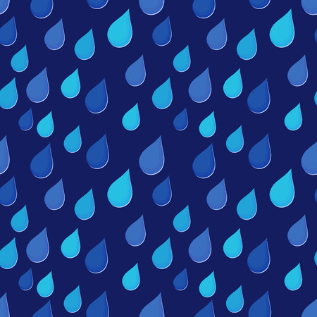 Rain drops falling obliquely, stylised seamless vector illustration in blue hues