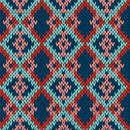 hues: Knitting variegated seamless vector pattern as a fabric texture in red, blue, turquoise and pink hues