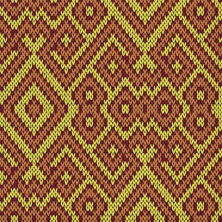 claret: Knitting seamless vector pattern as a fabric texture in yellow, claret and brown hues Illustration