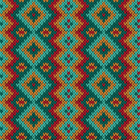 Knitting seamless variegated vector pattern as a fabric texture in red, blue, orange and turquoise colors.