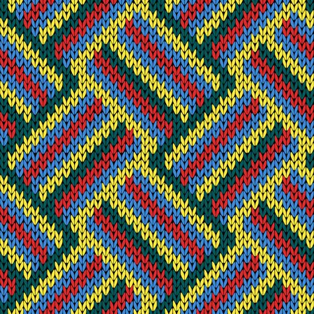 variegated: Knitting seamless variegated vector pattern as a fabric texture in red, blue, yellow and green colors.
