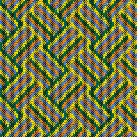 variegated: Knitting seamless variegated vector pattern as a fabric texture in orange, blue, yellow and green colors.