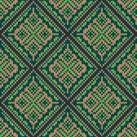 Seamless knitting square vector color pattern as a fabric texture mainly in green, claret and terracotta hues