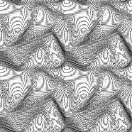 repeats: Abstract seamless vector pattern with curly lines in black and white colors