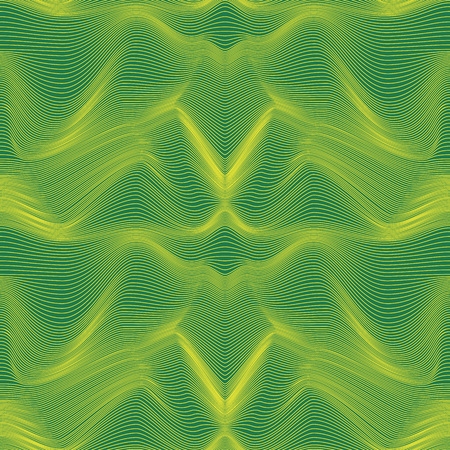 Abstract seamless vector pattern with curly lines in green and yellow colors Illustration