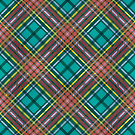 Diagonal seamless checkered vector multicolor pattern with pink and turquoise tints