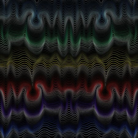 Abstract contrast seamless pattern with curly lines in spectrum hues Illustration
