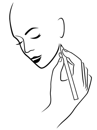 creator: Human hand drawing a young female head, conceptual vector sketching work