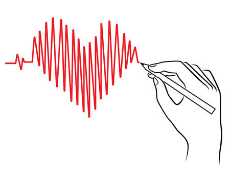 Human hand drawing a Heart pulse, conceptual vector sketching work