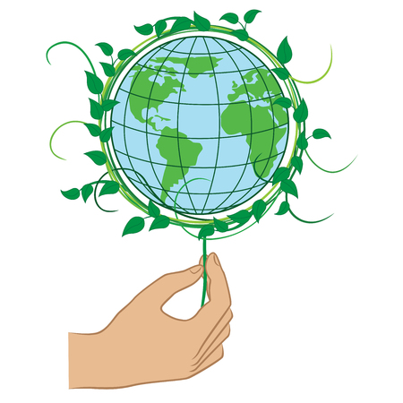 mankind: Human hand holding the Green Planet Earth, ecology conceptual vector illustration