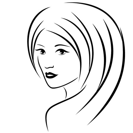 hairdo: Abstract attractive young women with long hair half-turn portrait close-up, vector black outline Illustration