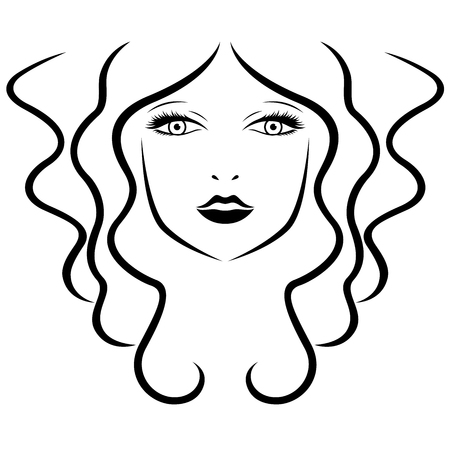 hairdo: Abstract beautiful young women with long locks stylized portrait, vector black outline Illustration