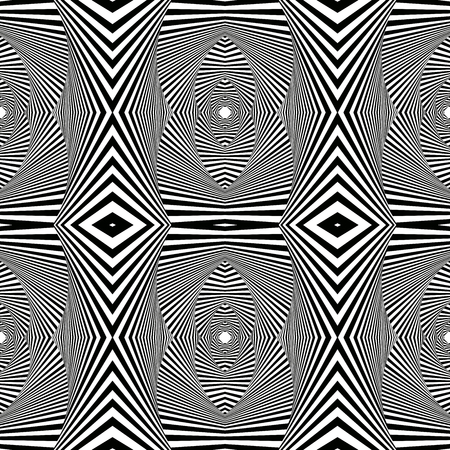 Abstract geometric black and white vector pattern with pseudo 3D visual effect