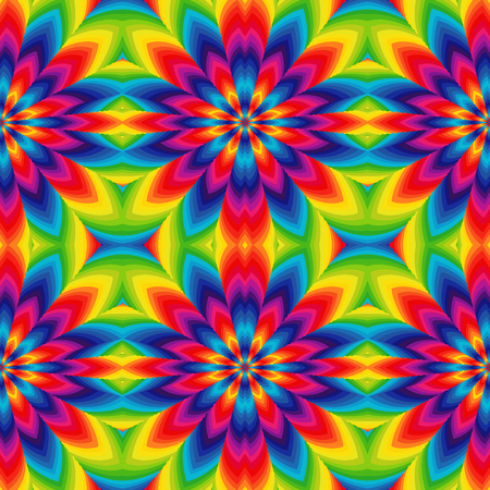 lighting background: Abstract vector pattern with geometric rotated flowers in spectrum colors
