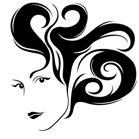 Abstract attractive glamour young women half turn portrait with stylish hair, vector illustration isolated on the white background Illustration