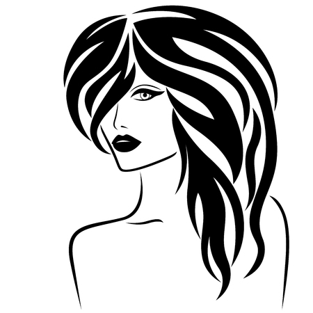 Abstract attractive young lady half turn portrait with stylish hair, vector illustration isolated on the white background Illustration