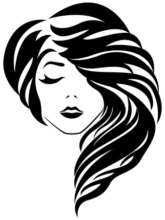 Abstract attractive young lady with closed eye and stylish gorgeous hair, vector illustration isolated on the white background